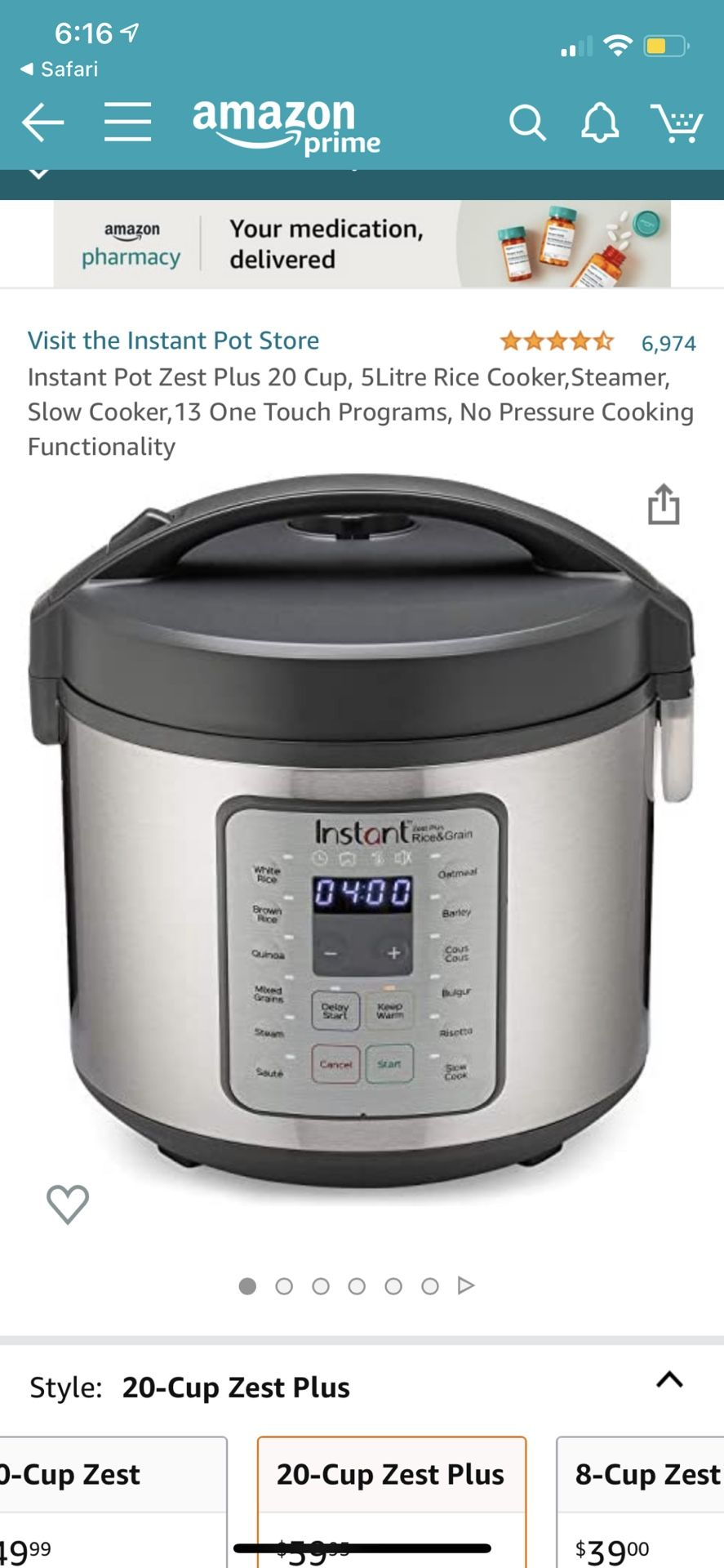 stant Pot Stainless-Steel 20-Cup Zest Plus Rice Cooker