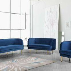Vivan Velvet Navy Living Room Set  byMeridian  3-7 Days Delivery  Thumbnail