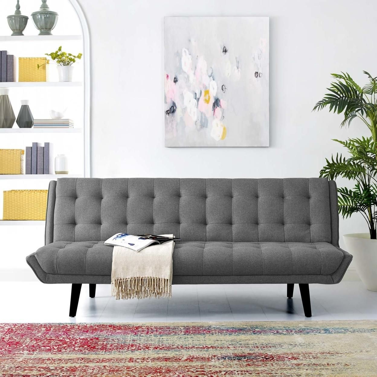 Glance Tufted Convertible Fabric Sofa Bed (3093-GRY)