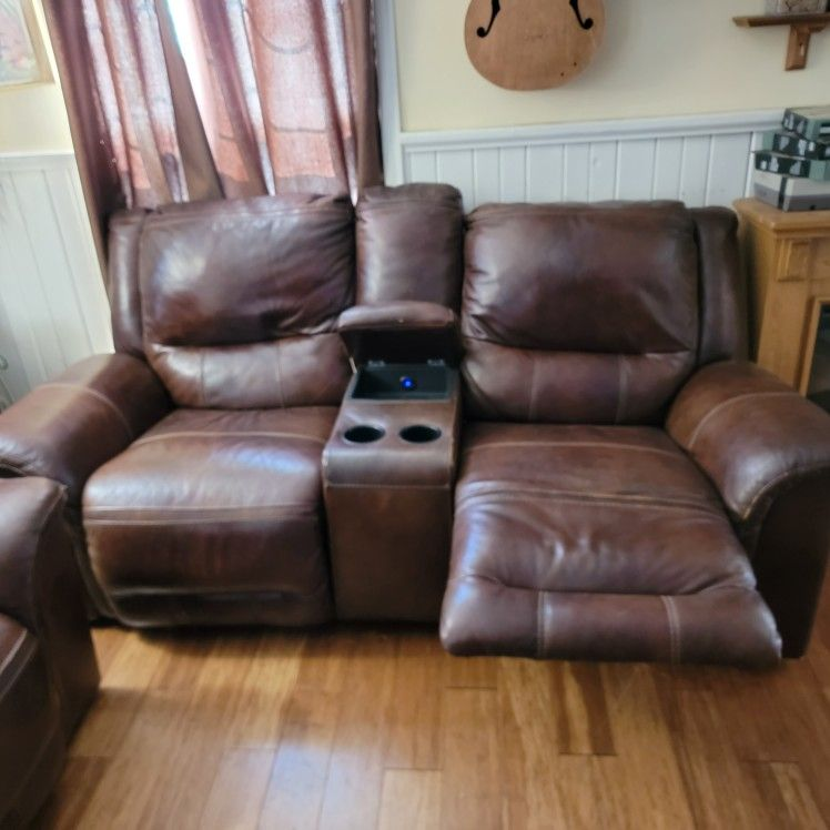 Brown Genuine Leather Reclining Sofa With Center Power Console