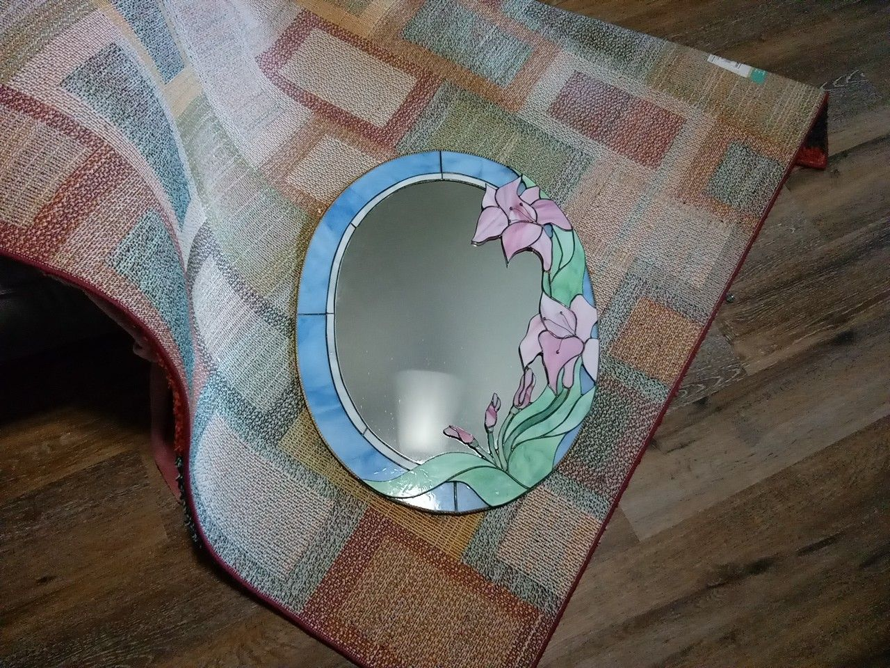 Oval Stain Glass Mirror
