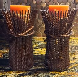 Beautiful Set Of Harvest Candle Holders w/Candles Thumbnail