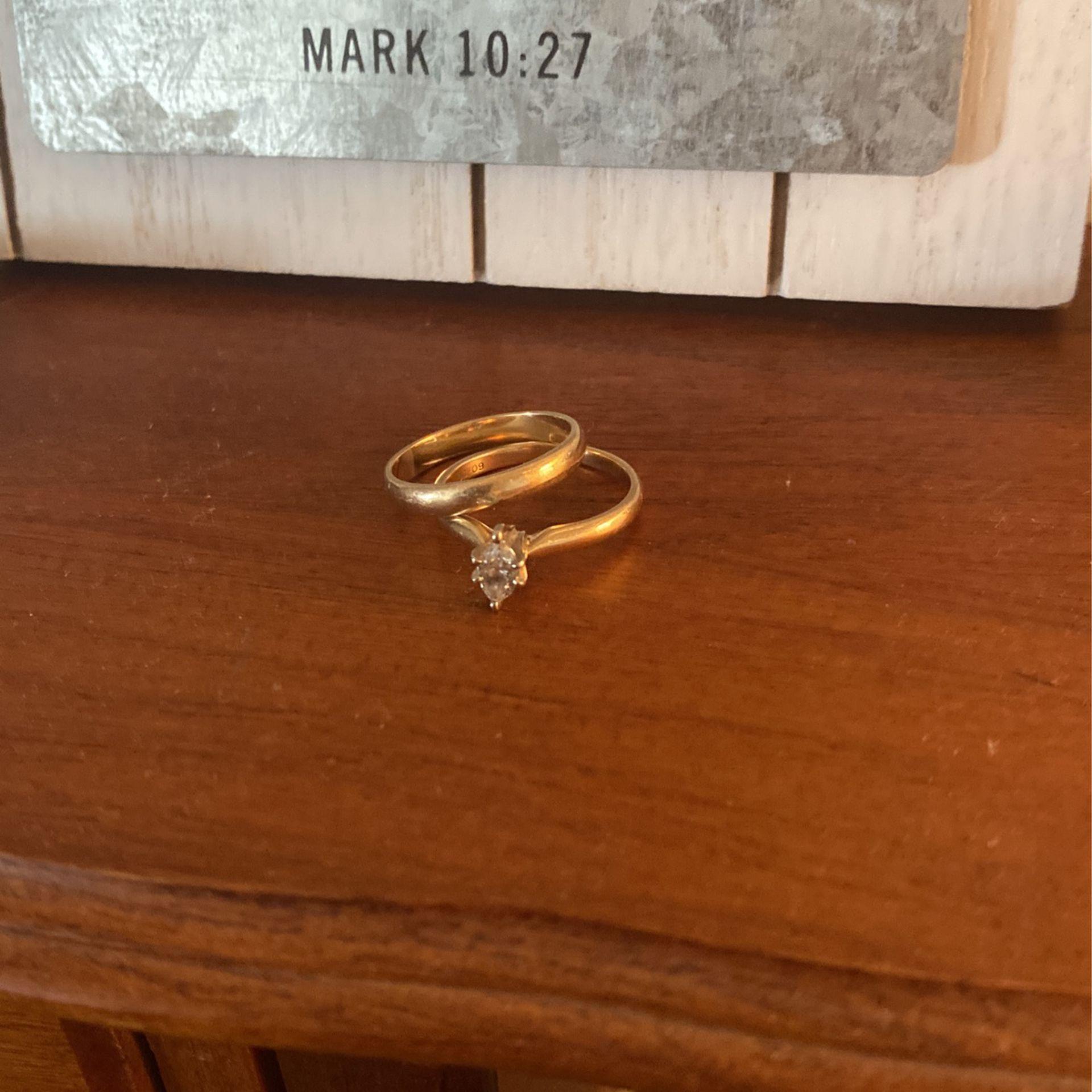 14k Simple Beautiful Gold Wedding Set