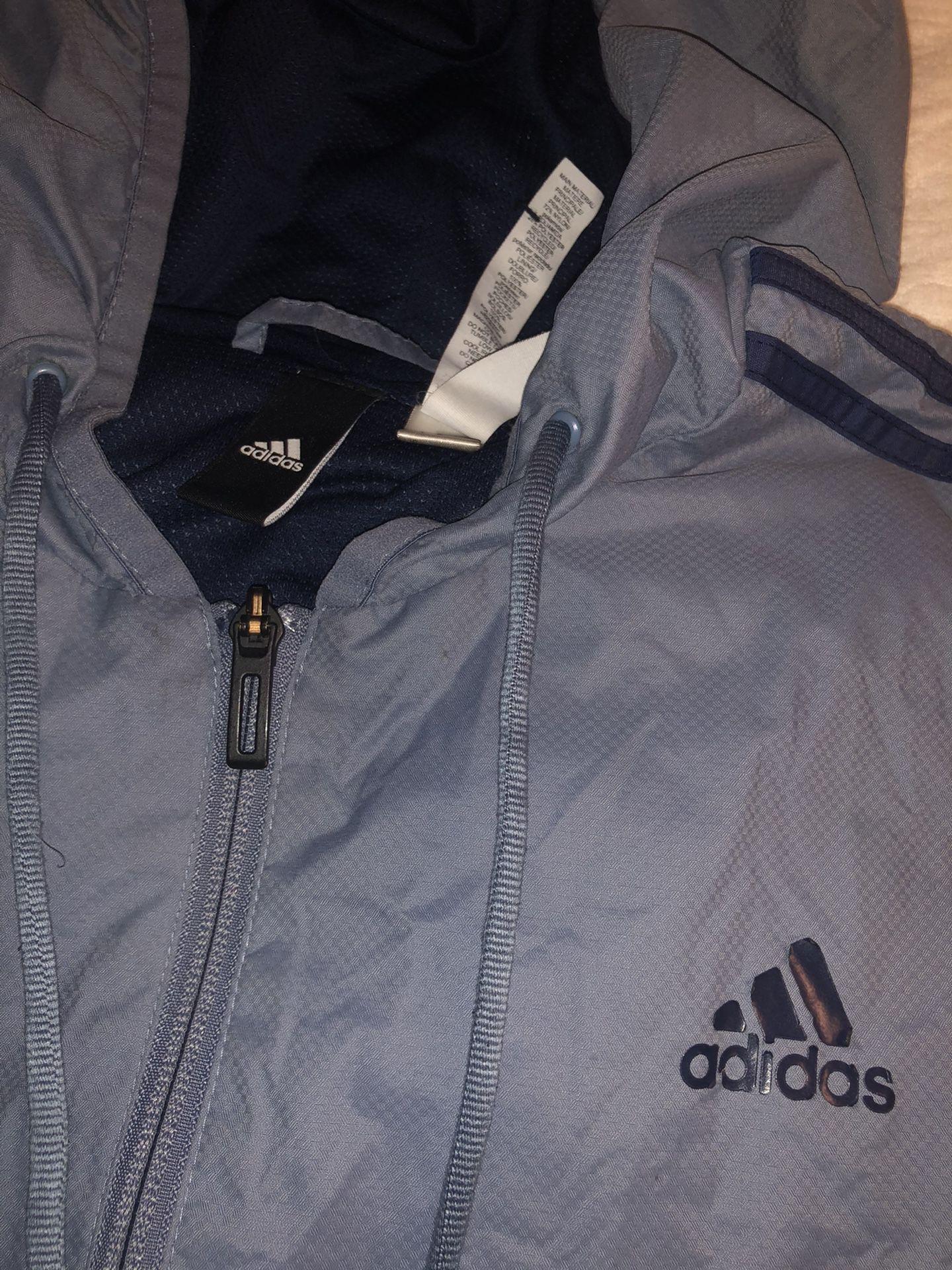 Adidas blue Grey windbreaker medium