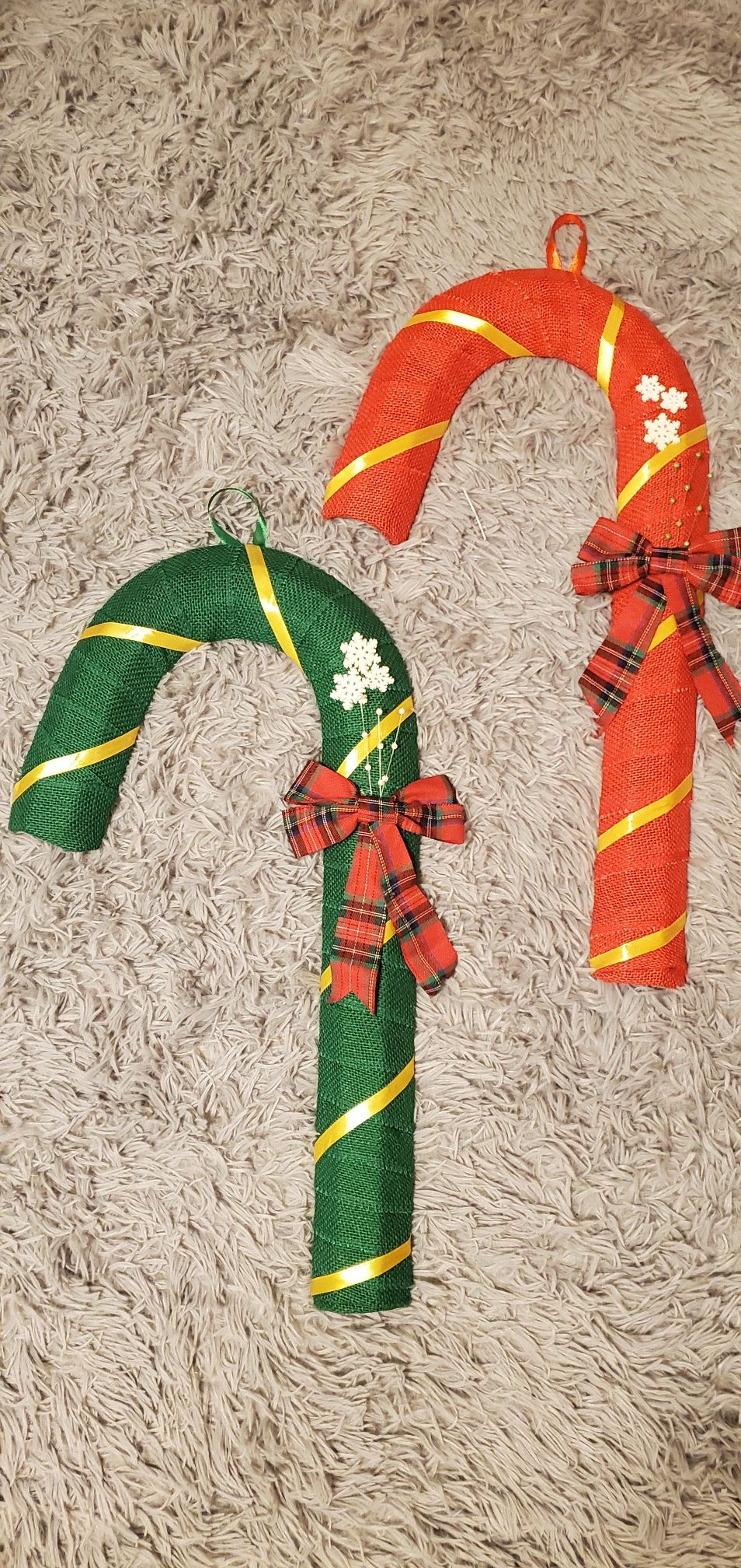 matching candy cane wrapped with burlap