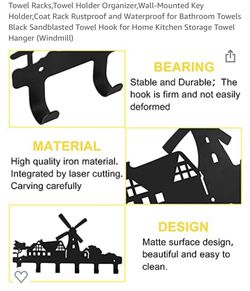Tower rack organizer- wall mounted key holder,coat rack,kitchen towthanger Thumbnail