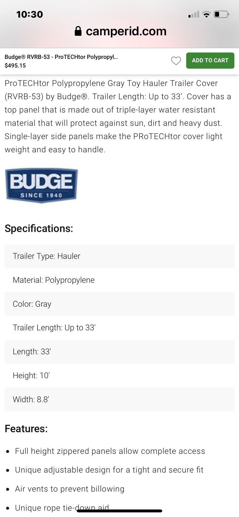 Budge Toy Hauler Cover 33' #RVRB-53