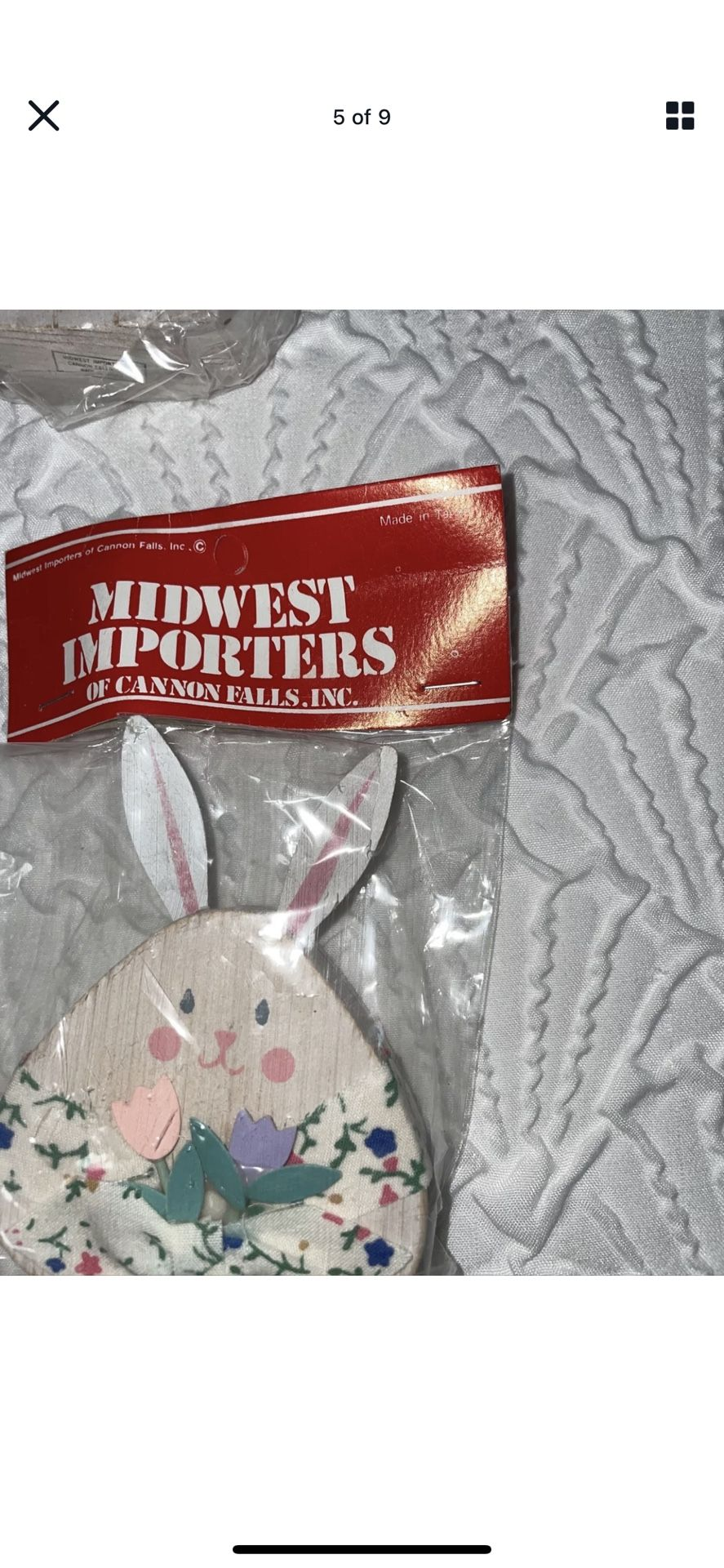 VTG Midwest Importers Of Canon Falls Wood Bunnies Ornaments Easter Like New Set of 6 Made in Taiwan!  3 matching sets!