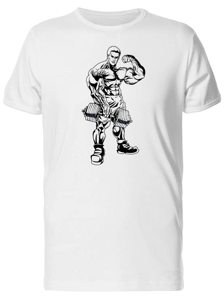 Smartprints Man With Dumbbell Showing Biceps Tee Men's -Image by Shutterstock White Size 4XL