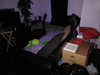 Sectional couch, rolling chairs and TV stand Thumbnail