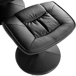 Swivel Recliner Chair, Leather Lounge Armchair Recliner, 360 Degree Swivel Overstuffed Padded Seat w/ Footrest Stool Ottoman Set Thumbnail
