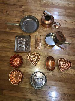 12 piece Copper Kitchenware Cooking, Baking & Decoration Set, Pot Pan Baking Bundt Cake, etc Thumbnail