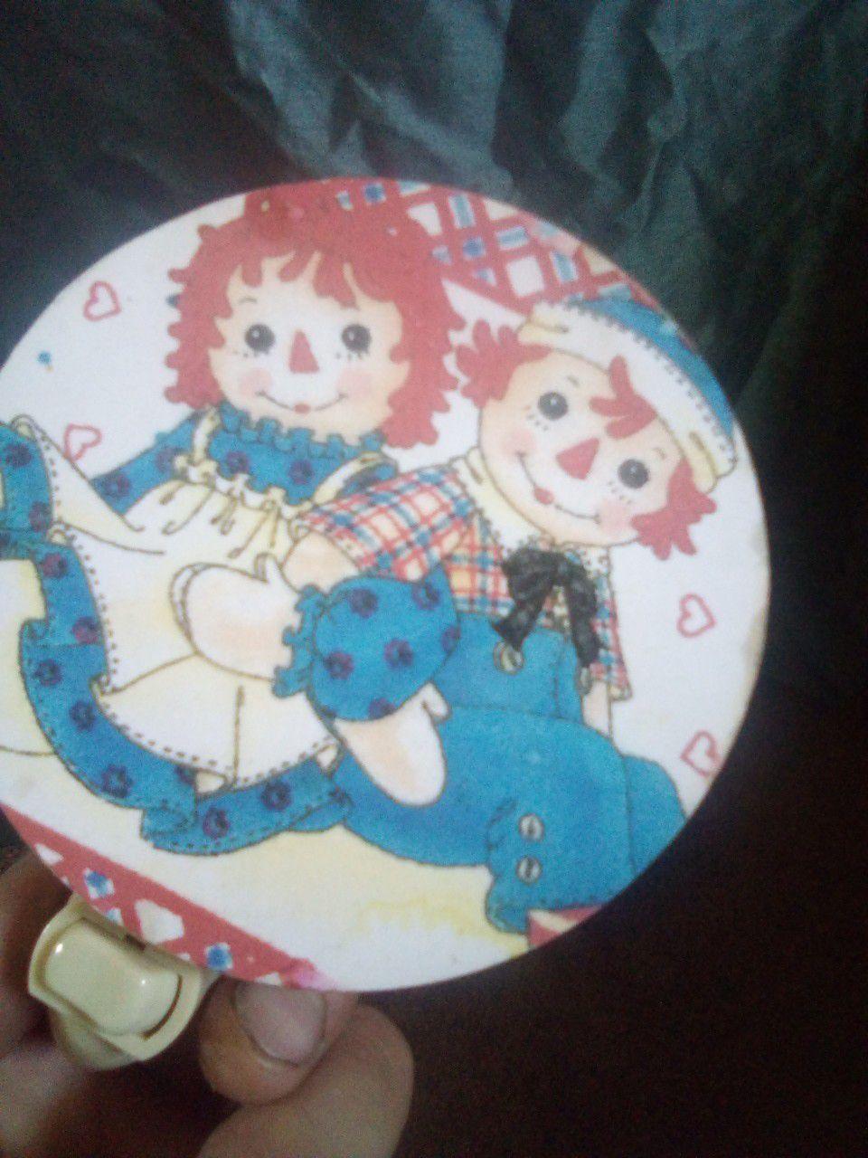 Vintage Raggedy Ann and Andy nite lite