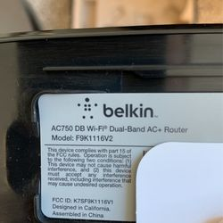 Belkin AC750 Wi-Fi Dual-Band AC+ Router (F9K1116) Thumbnail