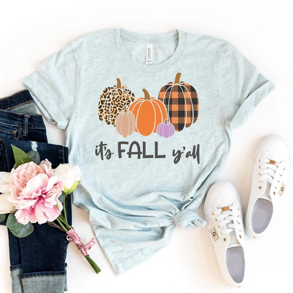 It's Fall Y'all T-shirt, Buffalo Plaid Shirt, Leopard Print Tshirt, Autumn Gift, Pumpkin Patch T-shirt, Blessed Shirts, Size X-Large