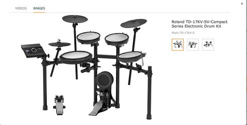 Roland Roland V-Compact Series Electronic Drum Kit, Set (TD-17KV-S) 2020 + Free Accessories Of Value 203.05 Dollars Thumbnail