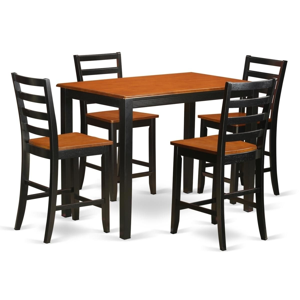 Counter Height Pub Small Kitchen Table & 4 Bar Stool, Black Finish