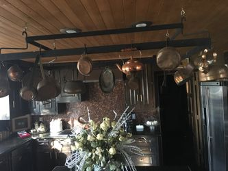 Huge Over the kitchen island Custom made pot & pan rack with copper pots and pans! Thumbnail