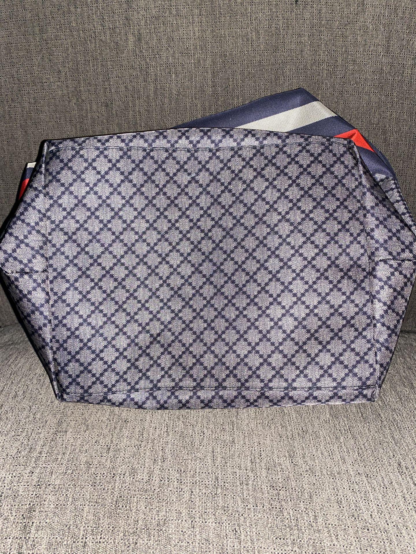 Gucci Unisex Blue Nylon Diamante Travel Tote Handbag {contact info removed}