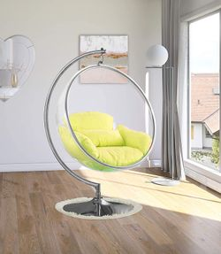 Hanging Bubble Chair Polished Chrome With Stand And Cushion Pillows Thumbnail