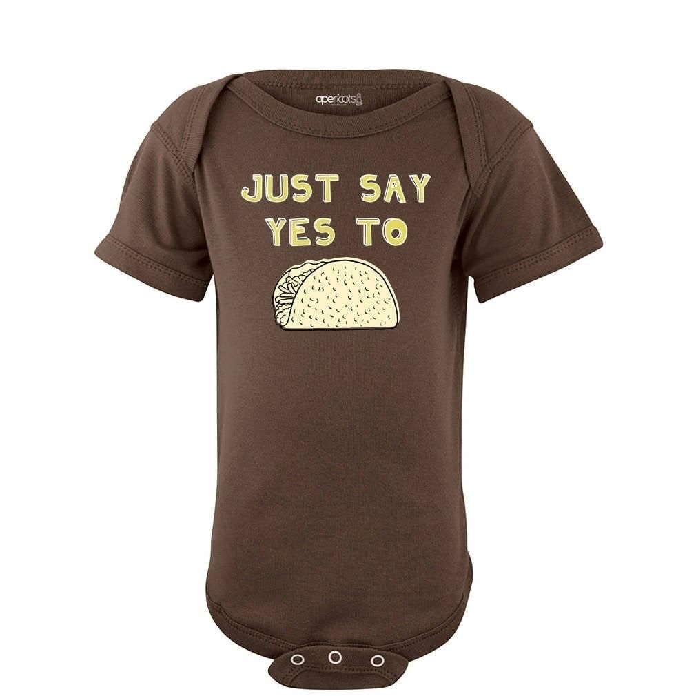 Funny Just Say Yes to Tacos Baby Bodysuit Fun Design New Infant Newborn 6 12 18 Months Food Foodie Chef Cook One Piece Size Newborn