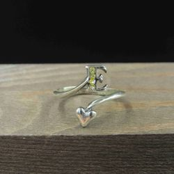 Size 6.5 Sterling Silver Letter E & Heart Worn Crystal Band Ring Vintage Statement Engagement Wedding Promise Anniversary Bridal Cocktail Thumbnail