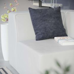 Mingle Vegan Leather Corner Chair, White Thumbnail