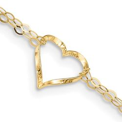 14K Yellow Gold Adjustable Double Strand Heart Anklet (9 Inches) Thumbnail