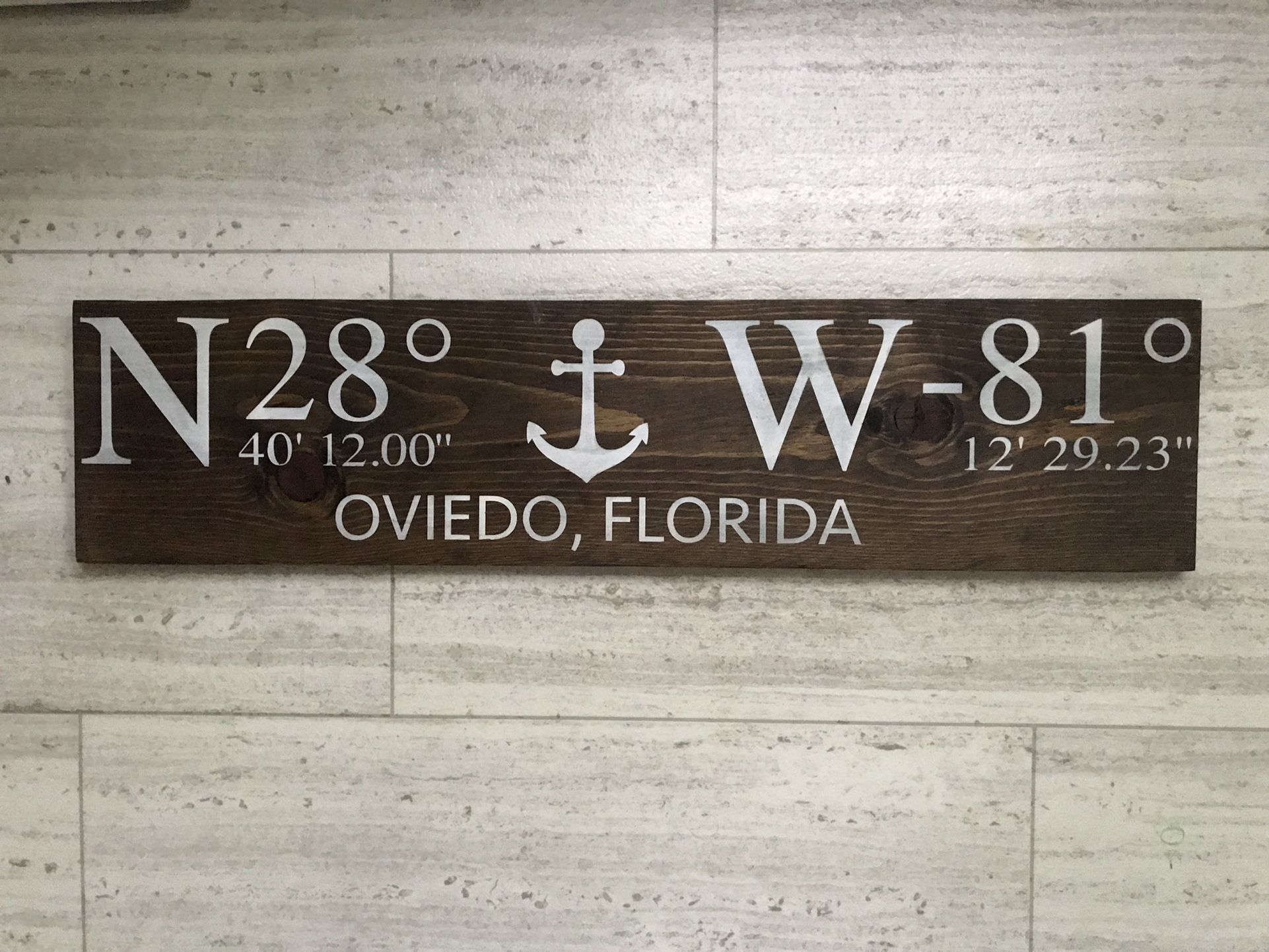 Oviedo Florida Large Nautical Coordinates Sign New Hand Painted Solid Wood