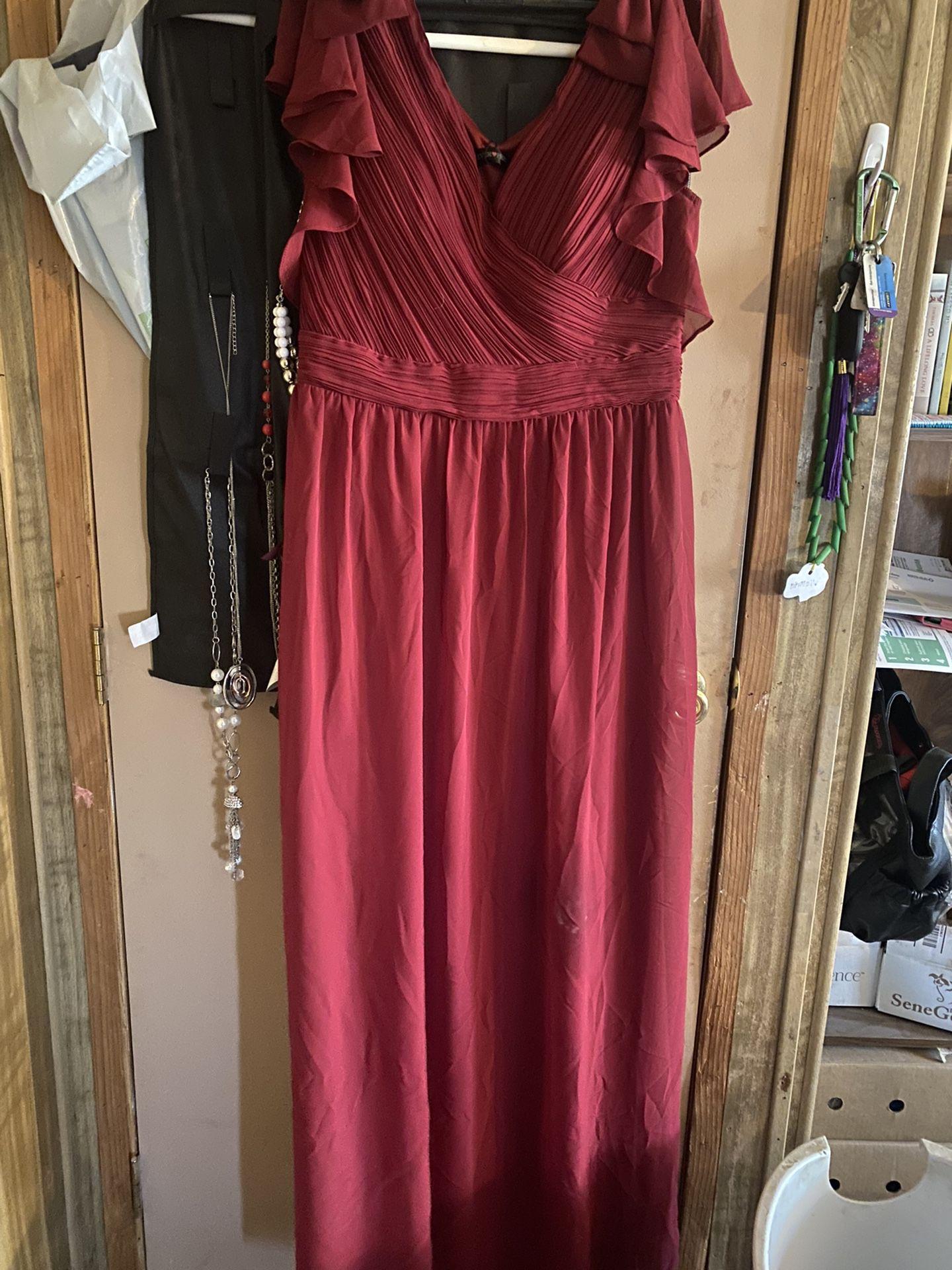 Burgundy Brides Maid Dress