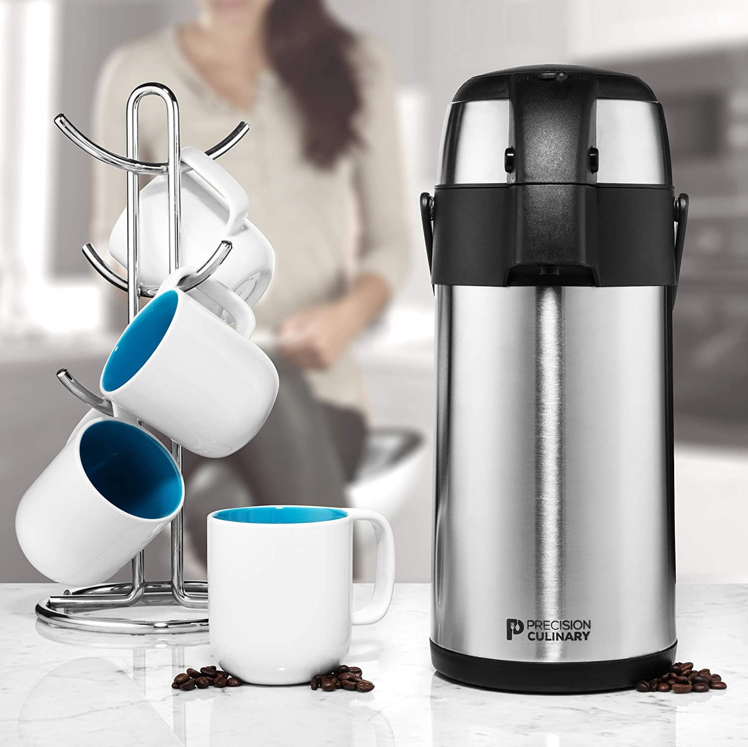 Airpot Coffee Dispenser with Pump/Stainless Steel Thermal Coffee Carafe - Three Liter (102 oz.) Hot Beverage Dispenser with On/Off Pump Switch - Vacuu