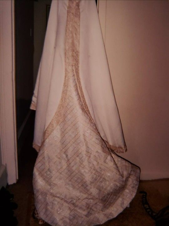 Gorgeous Beige And Gold Wedding Dress