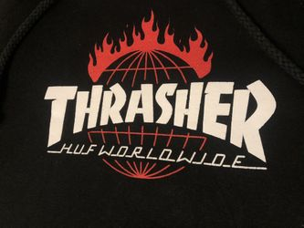 HUF X Thrasher Worldwide Hoodie Size Small Skate Magazine Thumbnail
