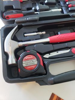 Apollo Tools DT9706 Original 39 Piece General Repair Hand Tool Set with Tool Box Storage Case , Red   Thumbnail