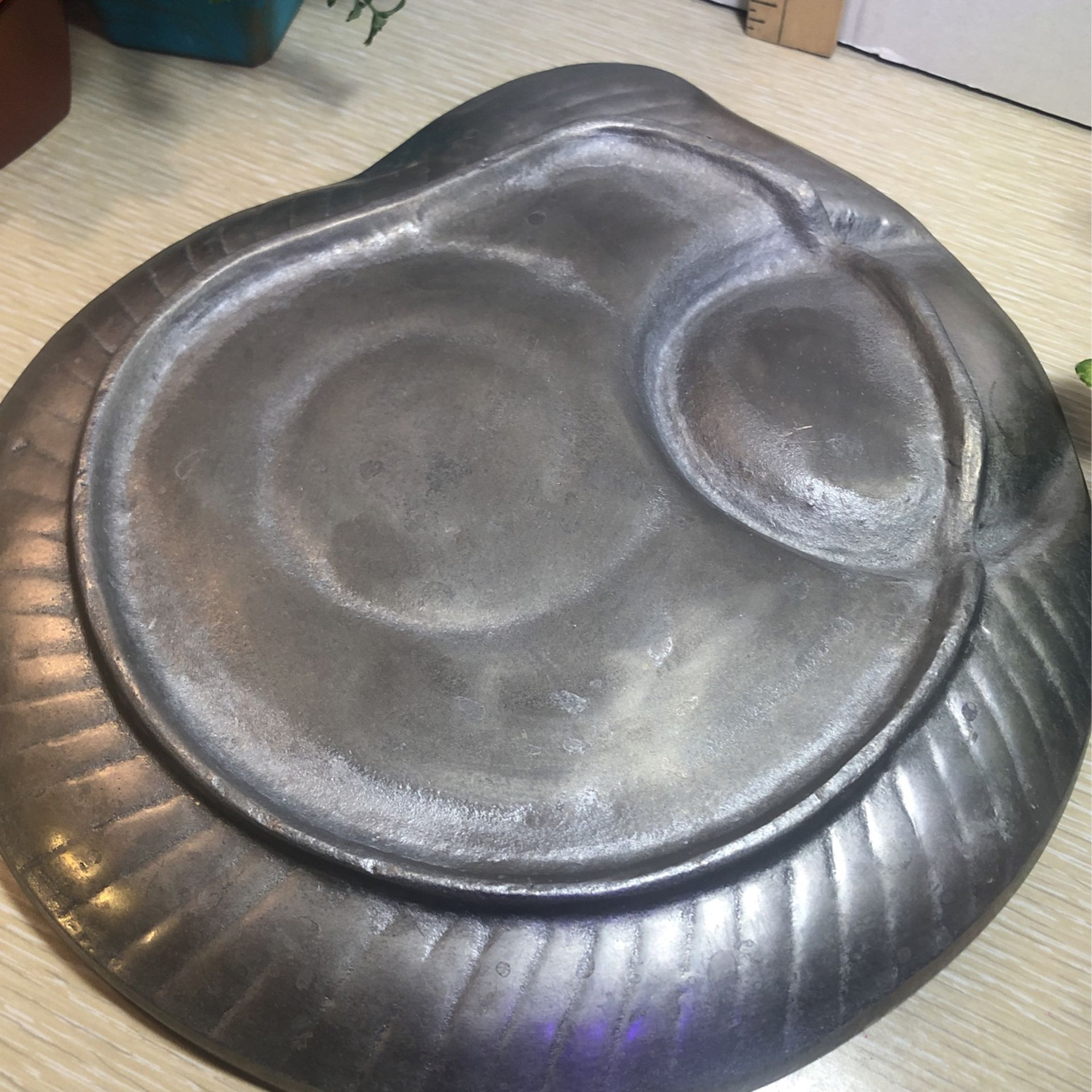 "Vintage Pewter Ammonite Dish Approx 11"" Diameter"