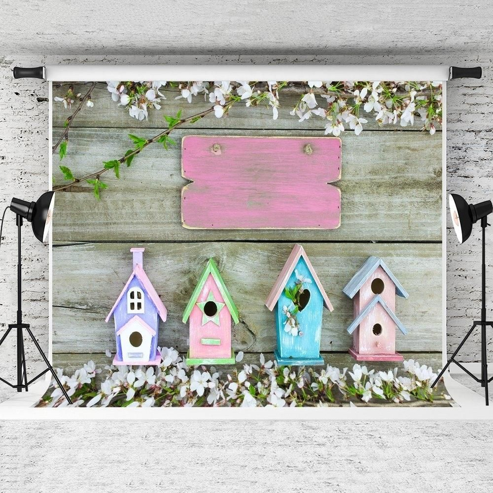 7x5ft Spring Photography Backdrops Wooden Wall Background Photo Booth Props