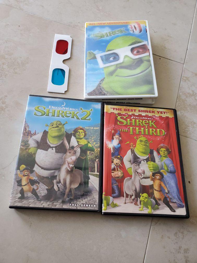 Shrek 1 w/3-D glasses Shrek 2 and 3 $5