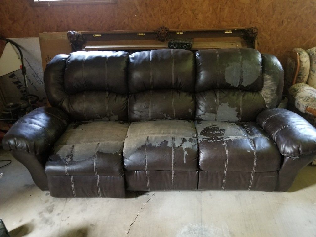Faux Leather Reclining Couch