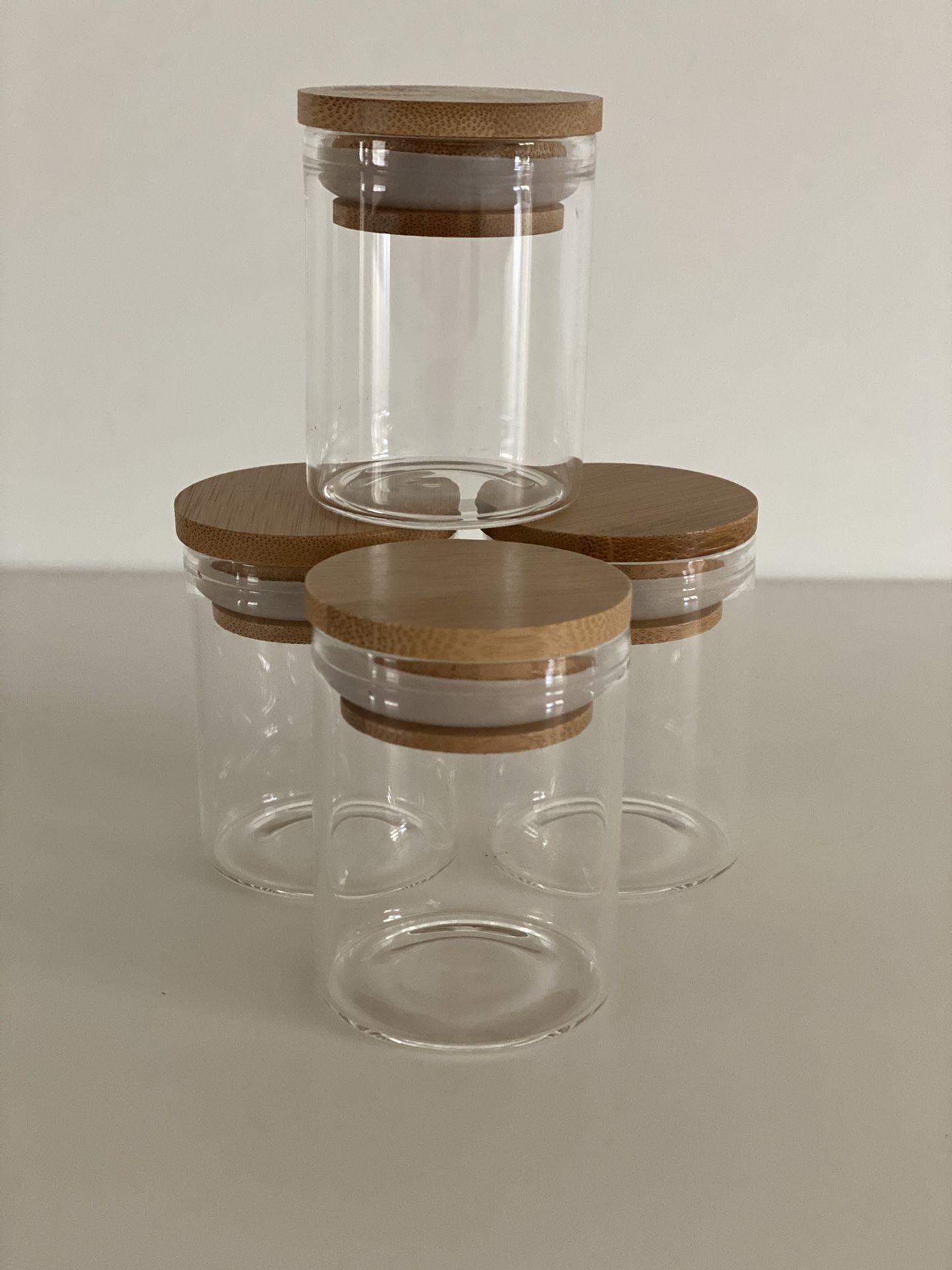 26 x 2 oz borosilicate glass spice jar with bamboo lid