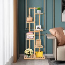 Costway 6 Tier 7 Potted Plant Stand Rack Bamboo Display Shelf for Patio Yard Thumbnail