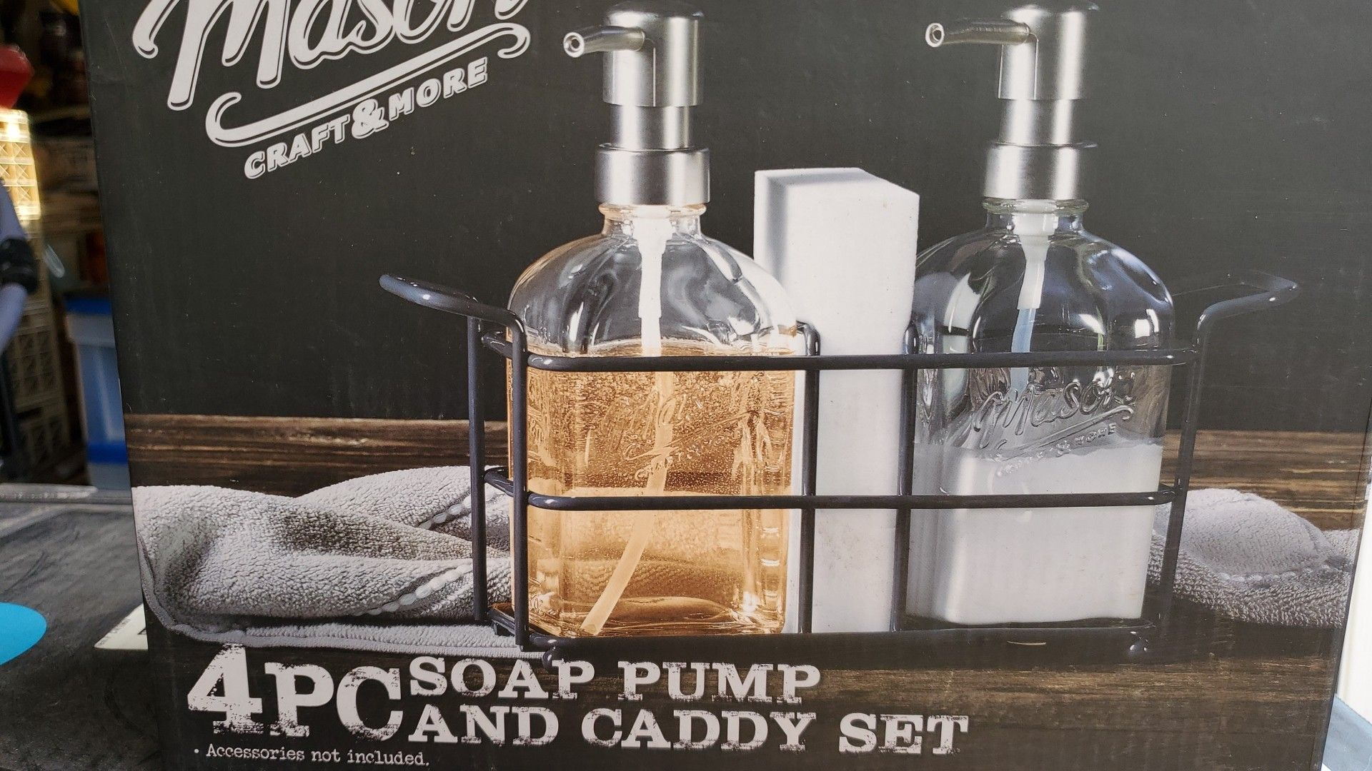 Brand New in Box Mason 4 Pc Soap Pump and Caddy set