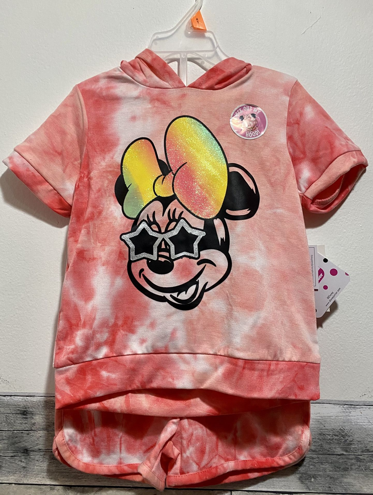 Disney Junior Minnie Mouse Ears Hoodie Set. Color pink size 2T/3T/4T