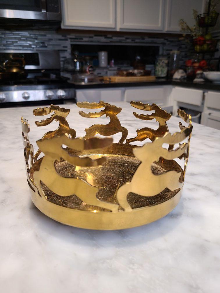 Reindeer Christmas candle holder brass