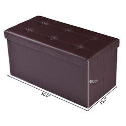 """Costway 30""""x15""""x15"""" Large Folding Storage Faux Leather Ottoman Pouffe Box Stool (Brown) Thumbnail"""