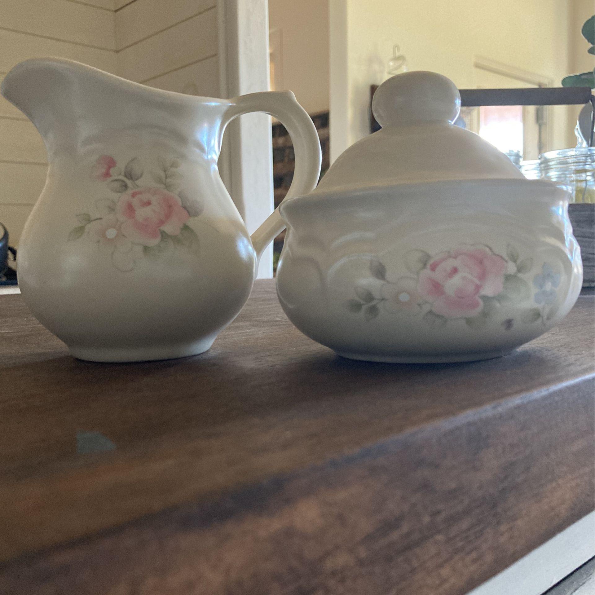 Pfaltzgraff Tea Rose Creamer and Sugar Bowl