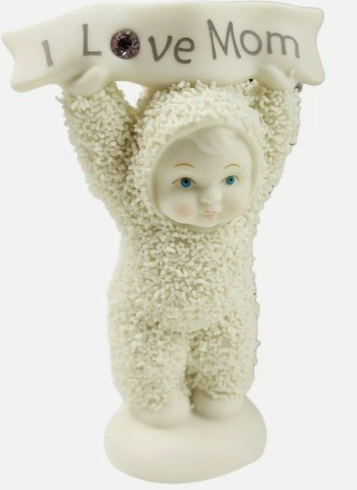 """Department 56 Snowbabies """"I LOVE MOM"""" Figurine w Box 2002 never displayed or removed from box.   Loc gb2"""