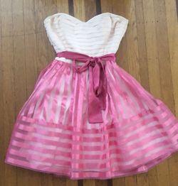 Women's Betsey Johnson pink cocktail dress 8 6 ruffled Thumbnail