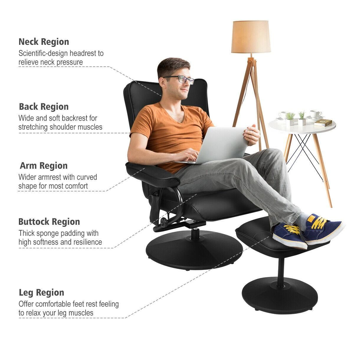 Massage Recliner Couch Chair Lounge Swivel w/Ottoman Side Pocket Remote Control
