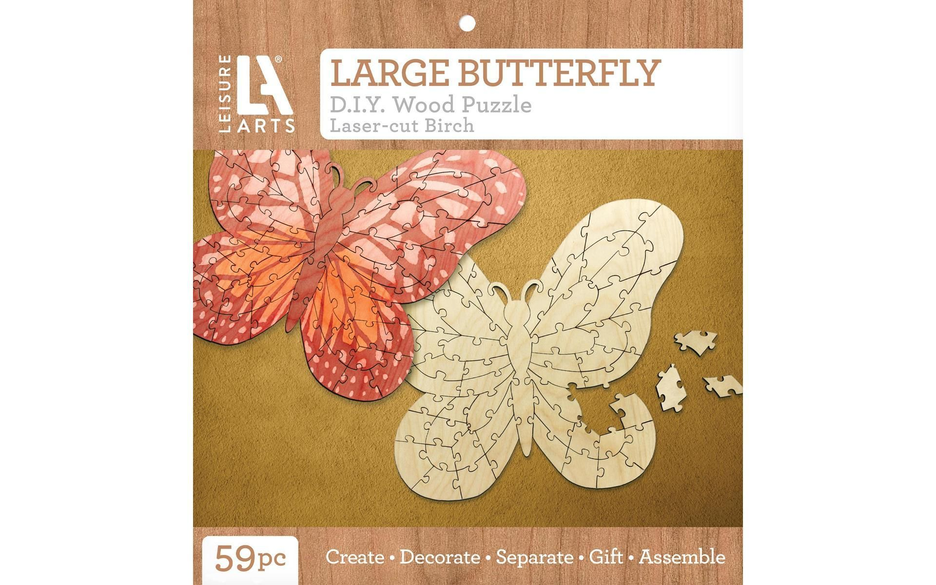 Leisure Arts Wood Puzzle Large Butterfly