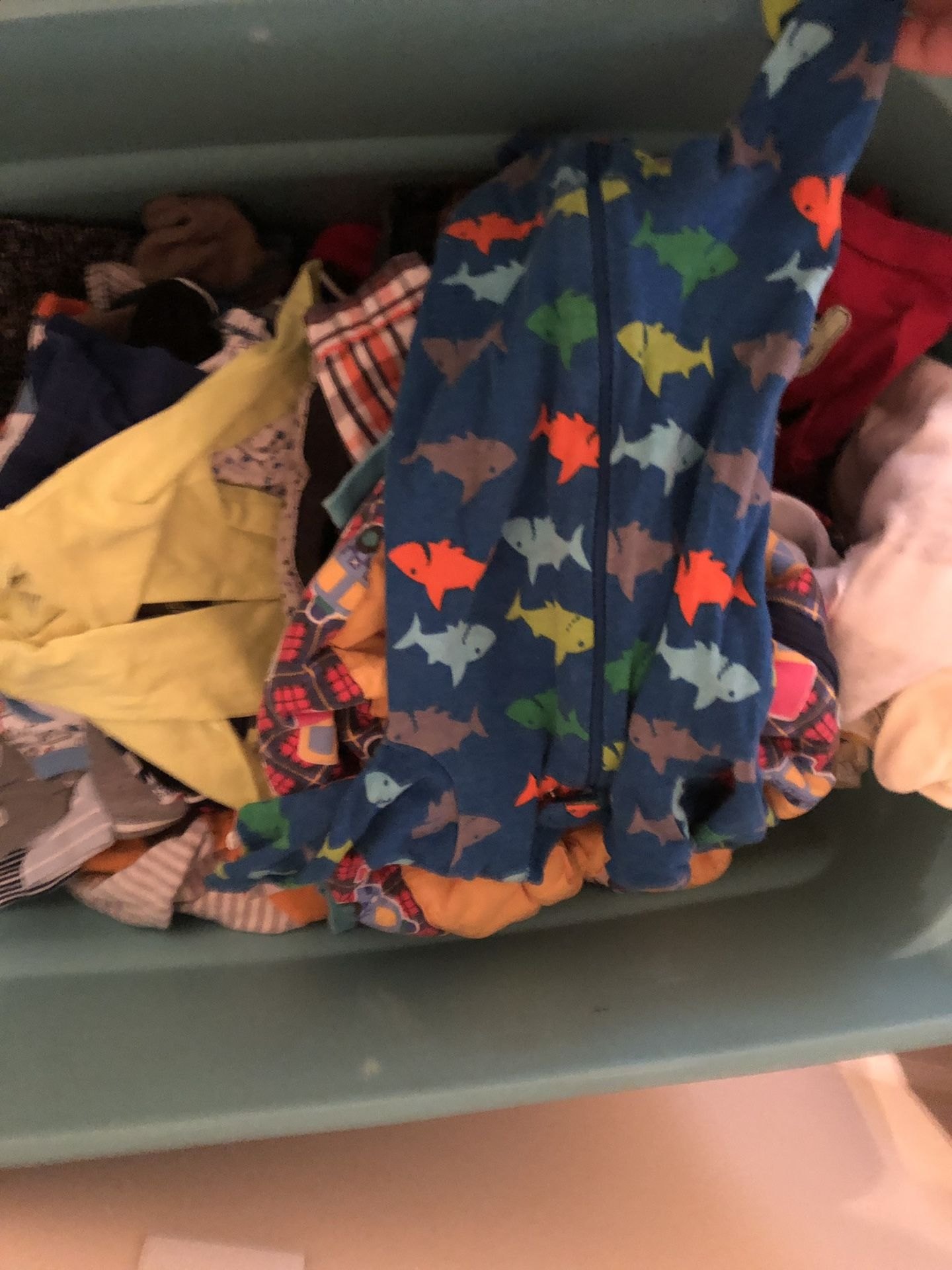 Huge tub of baby boy clothes